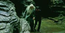 Prof. Dumbledore and Harry leaving the Cave