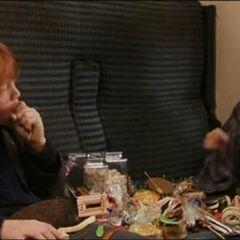 Гарри и Рон едят сладости в поезде