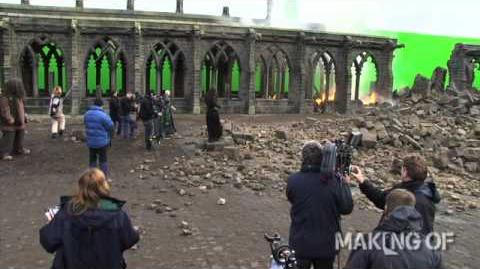 On set for the final chapter of 'Harry Potter and the Deathly Hallows Part 2'