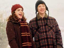 Hermione e Ron ridono