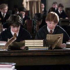 Гарри и Рон на уроке у Златопуста Локонса