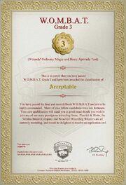 Wombat test3 certyfikat