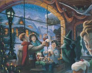 The Trio celebrating Christmas at the Three Broomsticks Inn