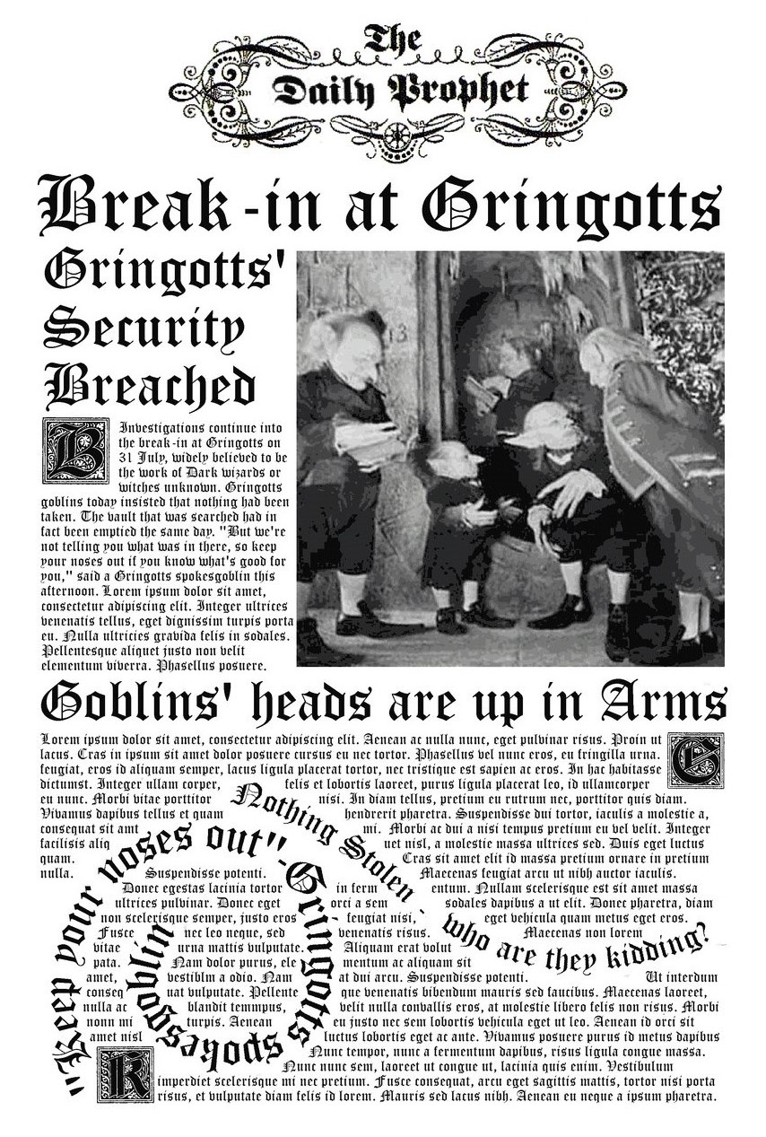 Image result for gringotts bank robbery newspaper report