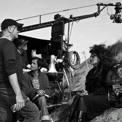 Хелена Бонэм Картер на съёмках в Уэльсе