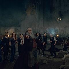 Ромильда во время битвы за Хогвартс (на заднем плане)