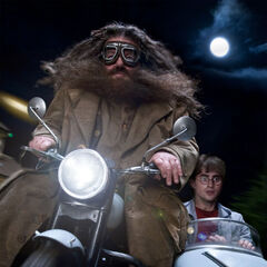 Гарри и Хагрид на мотоцикле