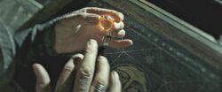 Albus Dumbledore wearing Marvolo Gaunt's Ring