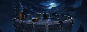 PM-Moment B1C14 HarryDeliversNorbertTheDragonToCharlieWeasleyAtHogwartsTower
