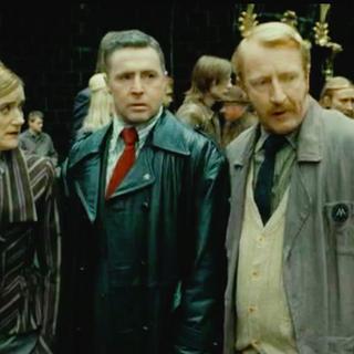 Гермиона, Гарри и Рон в облике работников  Министерства Магии