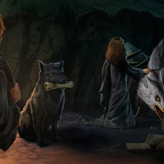 Гарри, Рон и Гермиона жалеют Клювокрыла (Pottermore)