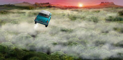 B2C3M2 Flying Ford Anglia above the clouds
