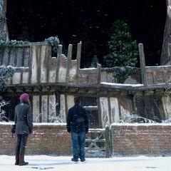 Гермиона и Гарри у разрушенного дома Поттеров