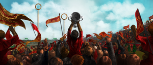 Harry Holding Quidditch Cup in a Crowd