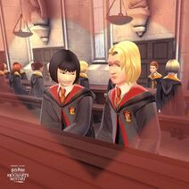 Leviosa Kid and Unidentified Gryffindor Girl from Harry Potter Hogwarts Mystery 2
