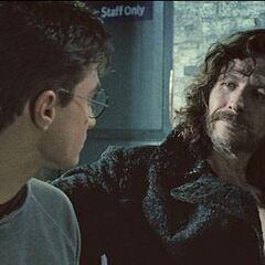 Сириус и Гарри прощаются на вокзале Кингс-Кросс