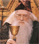 Albus Dumbledore in the Philsopher's Stone holding cup