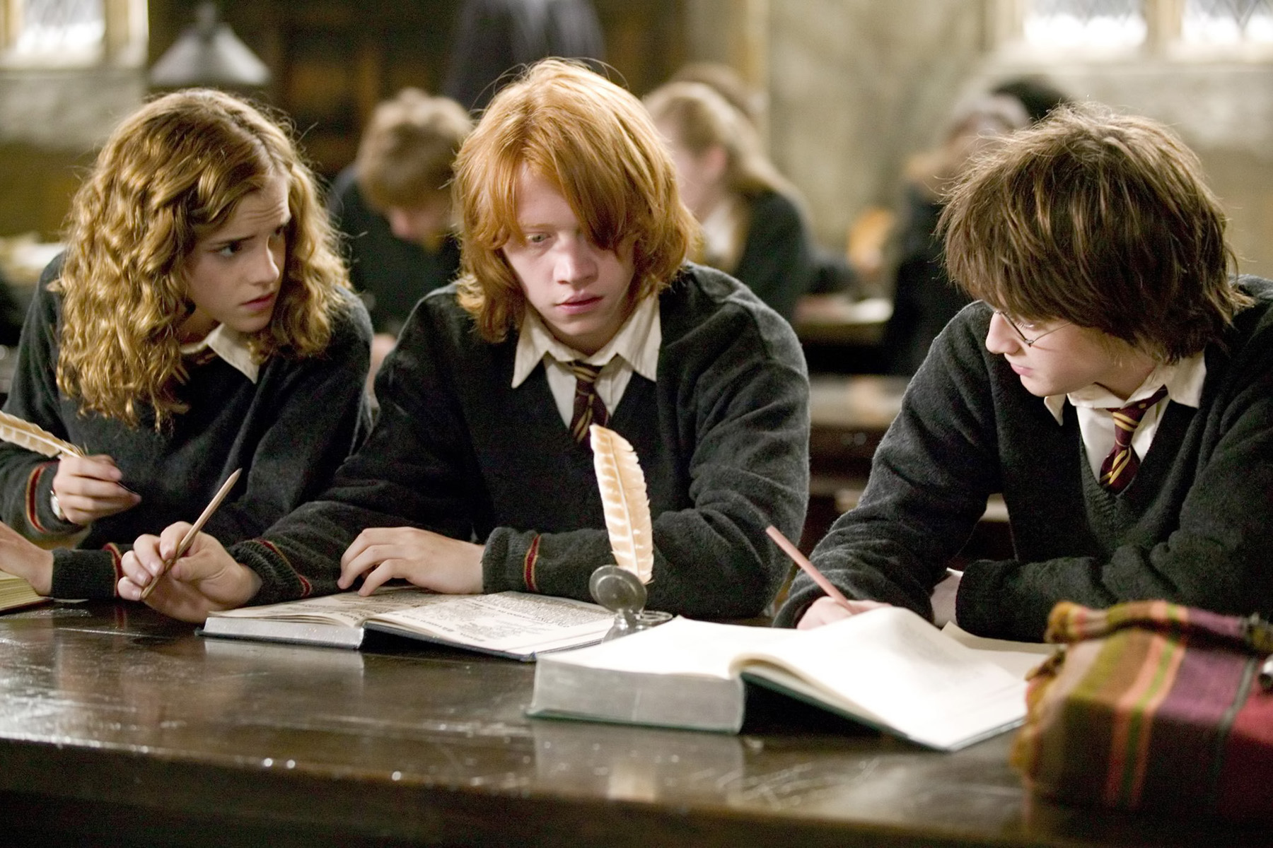Image result for hermione talking to ron and harry