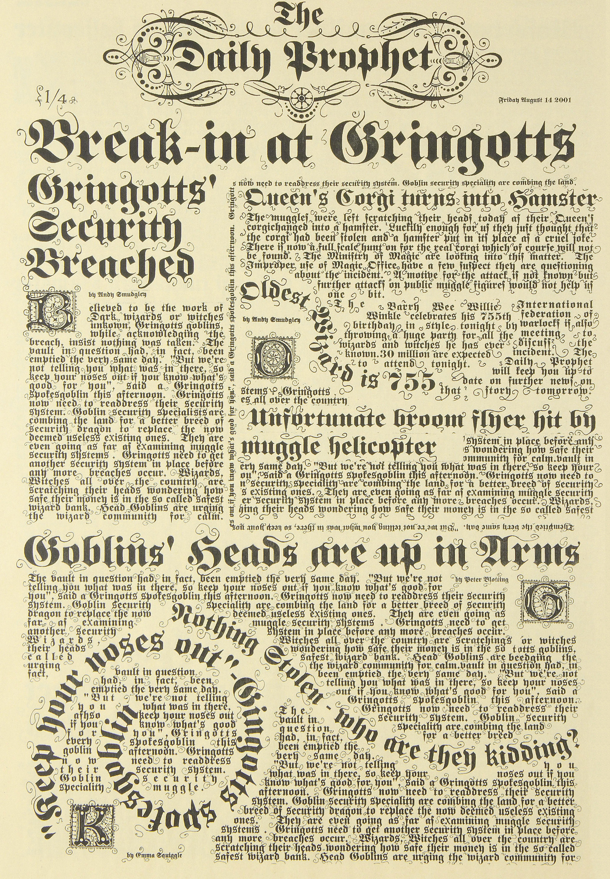 Daily Prophet for Harry Potter with interior pages 1//12 Scale Newspaper