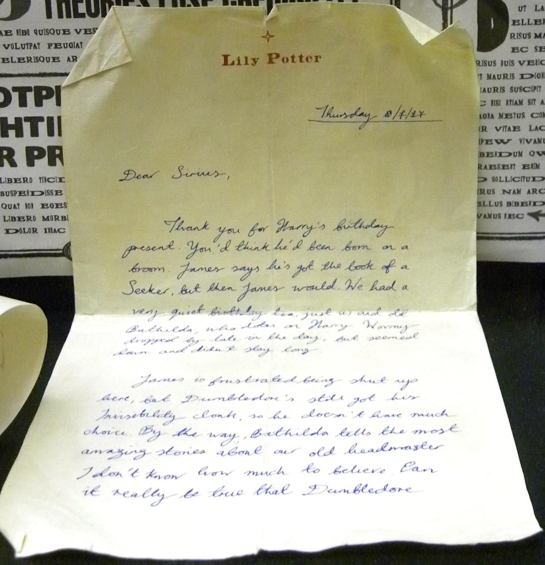 Lily J. Potter's letter to Sirius Black | Harry Potter Wiki