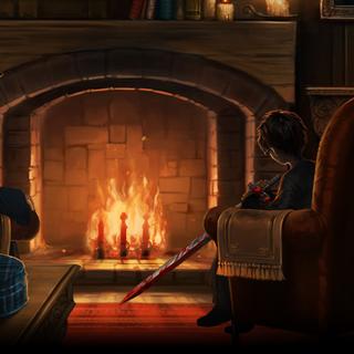 Гарри и Дамблдор в Кабинете Макгонагалл после сражения в Тайной Комнате