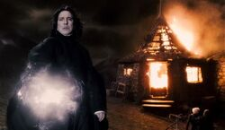 Snape with Hagrid's hut burning HBP