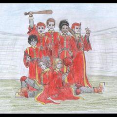 Команда гриффиндора по квиддичу. Фан-арт by Aedua