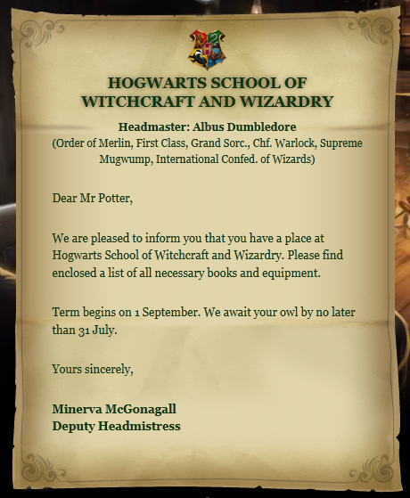 Hogwarts acceptance letter Harry Potter Wiki FANDOM powered by Wikia