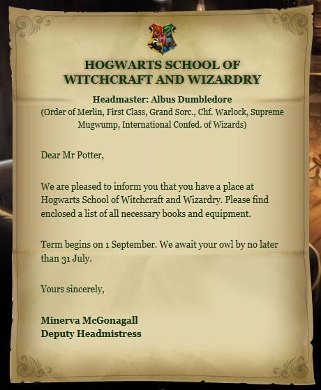 Hogwarts Acceptance Letter   Harry Potter Wiki   FANDOM Powered By Wikia
