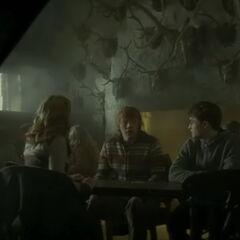 Гарри, Рон и Гермиона в «Трёх мётлах»