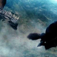 Гарри улетает на «Молнии» от дракона