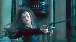 Bellatrix Lestrange holding the Godric Gryffindor's sword