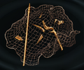 Broken trident in fishing net.png