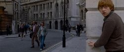 Ron Weasley in the Muggle street of London
