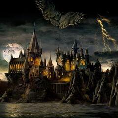 Ночной Хогвартс (иллюстрация)