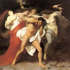 <i>«Орест, преследуемый эриниями»</i><br />(картина Вильяма Бугро)<br /><small>кто из них <b>Алекто</b> — неизвестно</small>