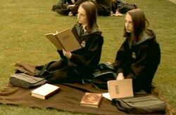 Flora and Hestia Carrow studying at Transfiguration Courtyard