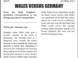 WALES VERSUS GERMANY
