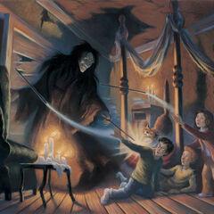 Сириус Блэк использует Экспелиармус в книге «Гарри Поттер и узник Азкабана».