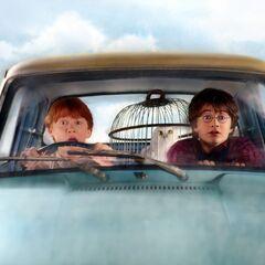Гарри и Рон летят в Хогвартс