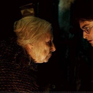 Батильда разговаривает с Гарри на парселтанге
