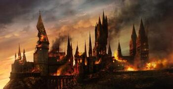 Hogwarts Castle during the Battle of Hogwarts