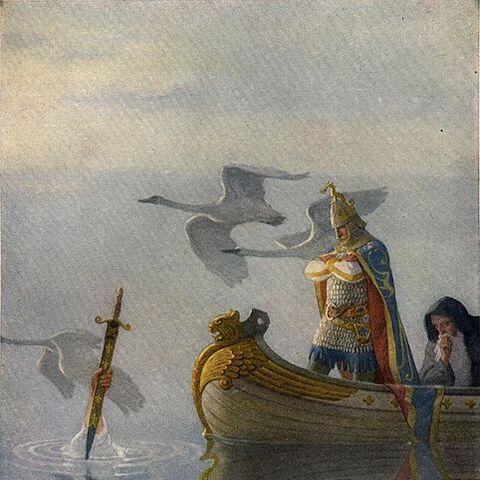 Король Артур и Мерлин получают Эскалибур