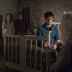 Гарри беседует с мистером Олливандером в спальне коттеджа