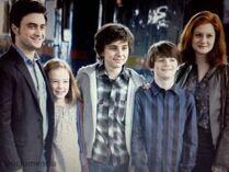 Ginny i Harry z dziećmi