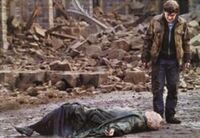 Harry w kurtce stoi nad leżącym na ziemi Voldemortem, gruzy w tle
