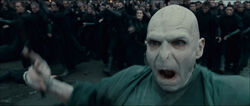 Voldemort and his followers at the Battle of Hogwarts