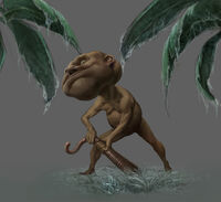 Gnome à la chasse au ver de terre