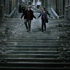 Рон и Гермиона бегут по лестнице, во время битвы