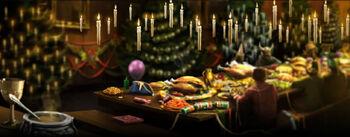 Obiad bożonarodzeniowy w Hogwarcie